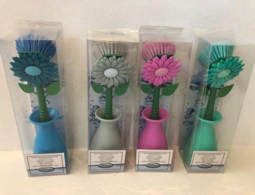 Afwasborstel in houder Bloem 4 Kleuren Geen Verkoop in Nederland