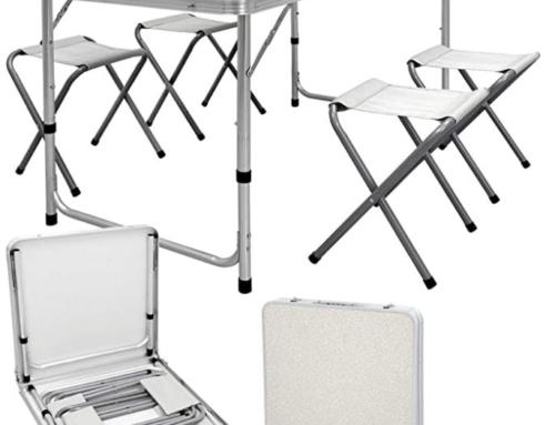 Kampeertafel Set met 4 Krukken  120 x 60 x 55/63/70 cm in Hoogte Verstelbaar  Inklapbaar